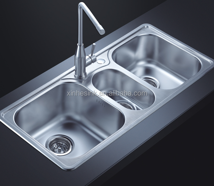 Topmounted Stainless Steel Sus 304 Triple Bowl Kitchen Sink Buy Cupc Stainless Steel Kitchen Wash Basin Sus 304 Stainless Steel Kitchenwares Topmounted Sink With Three Bowls Product On Alibaba Com