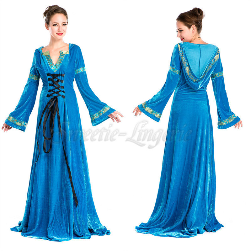 Buy Blue Robe adult princess costume Gown sleeves disfraces adultos ...