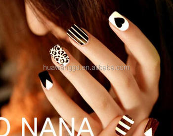 Professional Black White Stripe Nailstips Love Design Fake Nails For