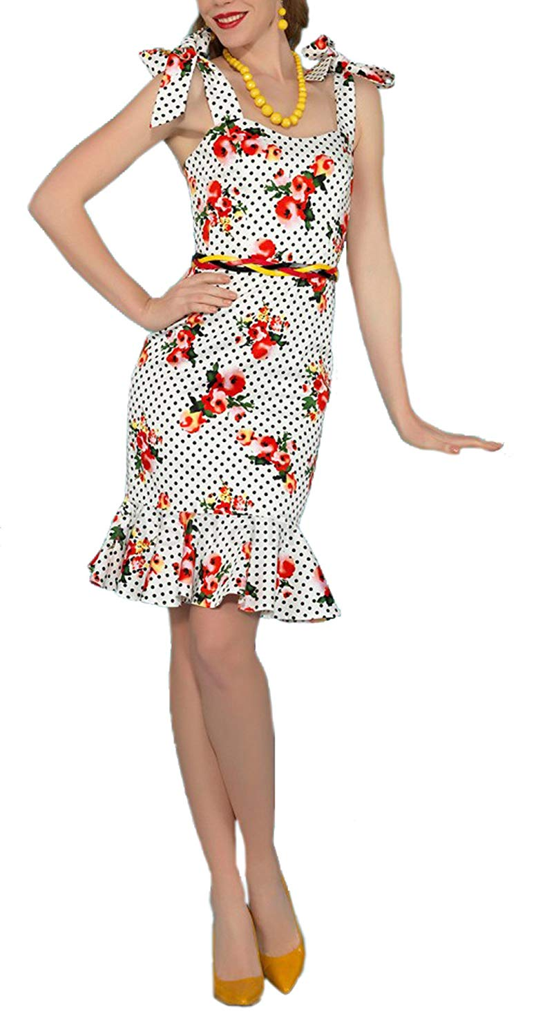 BI.TENCON 1950s Pinup Vintage Rockabilly Polka Dot Mermaid Wiggle Fitted Party Dress