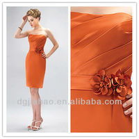 New Arrival Strapless Flower Trimmed Bridesmaid Dress