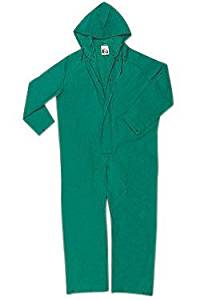 River City Garments 3X Green Dominator .4200 mm PVC And Polyester Flame Resistant Rain Coveralls With Double Storm Flap Over Front Zipper Closure And Attached Drawstring Hood - 1 EA