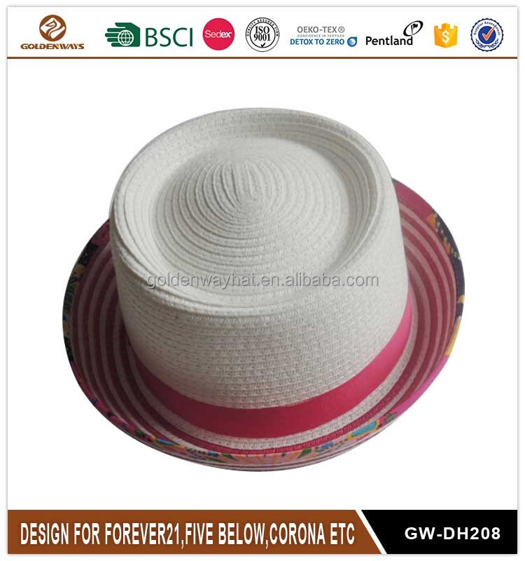 High quality wholesale custom logo ladies paper boater hat