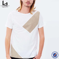 T shirt manufacturer bangladesh mens plain white t shirt with contrast panels