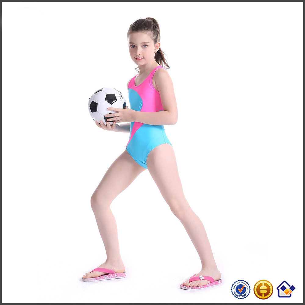 KY contrast color Sports wear training competition swimming one piece young girl swimsuit models