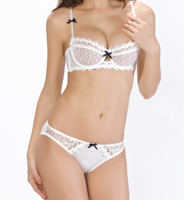 45a02242c06 Get Quotations · 2015 Underwear set Women Half Cup Lace Bra + Briefs Plus  Size Ultra-thin Sexy