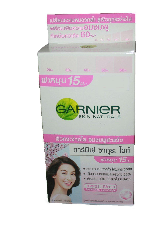 Buy Garnier Sakura White Pinkish Radiance Moisturizing Cream Spf21 18ml Lightening Day Pa Net Wt 7 Ml6 Sachet