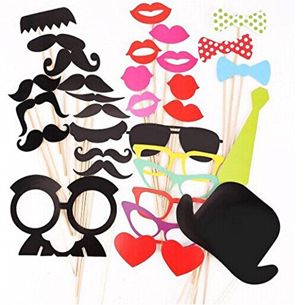 Buy 32pcs Diy Colorful Photo Booth Props Wooden A Stick Mustache Lip