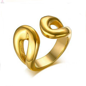 Fashion Cheap Ladies Stainless Steel Gold Finger Adjustable Rings