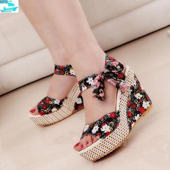dfaacba66 HFS1143A Boho Fashion Floral Sandal Shoes Peep Toe Ladies Wedge High Heel  Sandals