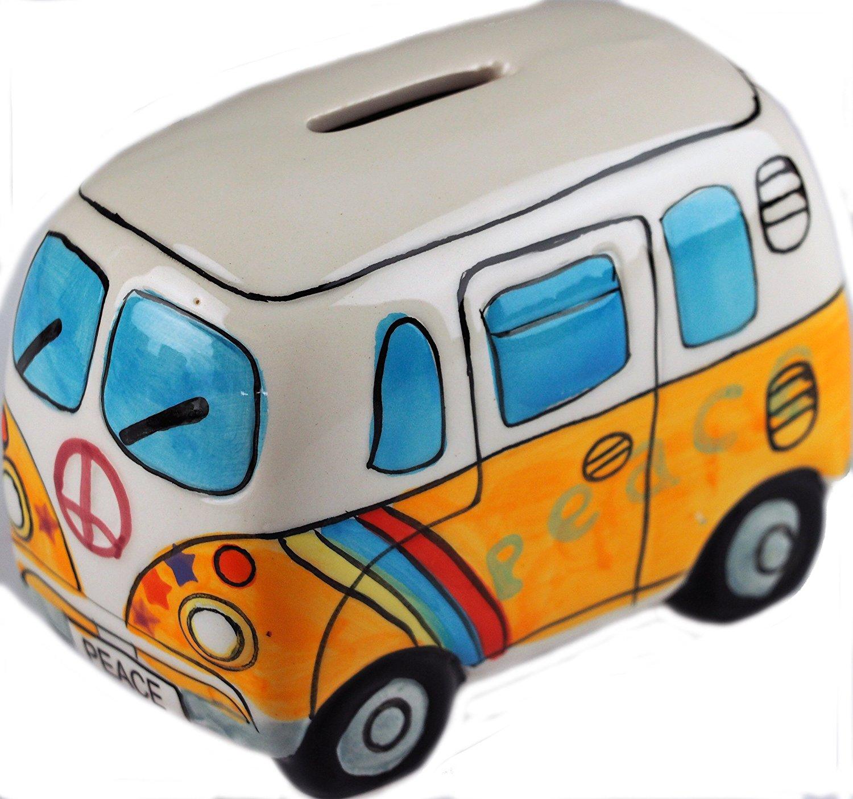 Get Quotations Cartoon Peace Vw Style Camper Van Ceramic Money Box Yellow