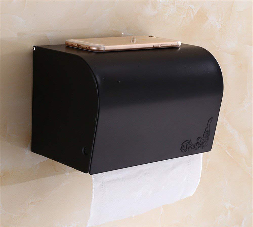 Toilet Paper Holders Black Copper Toilet Paper Holder European Bathroom Towel Box Antique Hotel Toilet Paper Rack Paper Shelf,Long Paper Towel Box