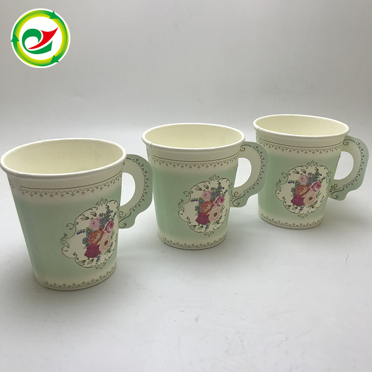 The best price floral printed coffee paper cup with handle
