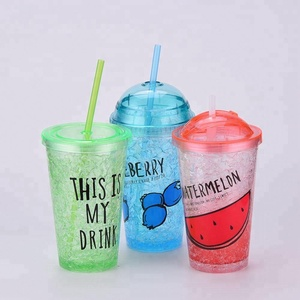 Double Wall Custom 16oz BPA Free Ice Cold Water Drink Tumbler Freezer Gel PS Plastic Acrylic Tumbler with Lid Straw Wholesale