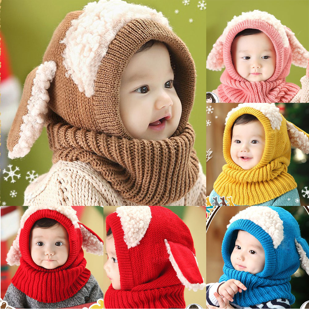 Baby Kids Winter Warm Knitted Earflap Hooded Scarves Hat Caps for Boys Girls Winter Beanie and Scarf
