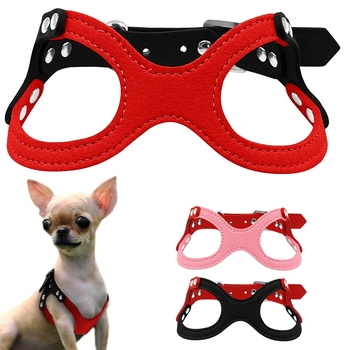 Soft Suede Leather Small Dog Harness for Puppies Chihuahua Yorkie Red Pink Black Ajustable Chest