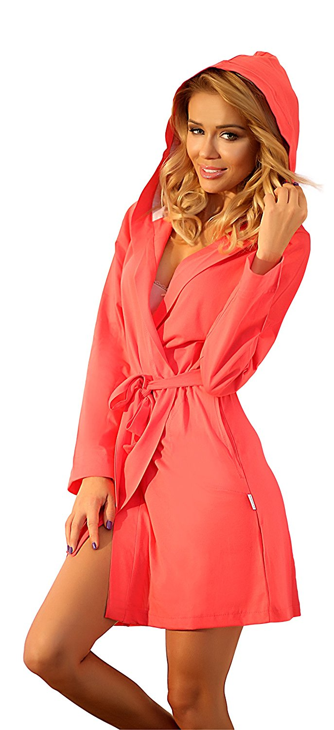 Get Quotations · Wanmar Womens Lightweight Cotton Dressing Gown Short  Length Hooded Robe fb9fcadc7