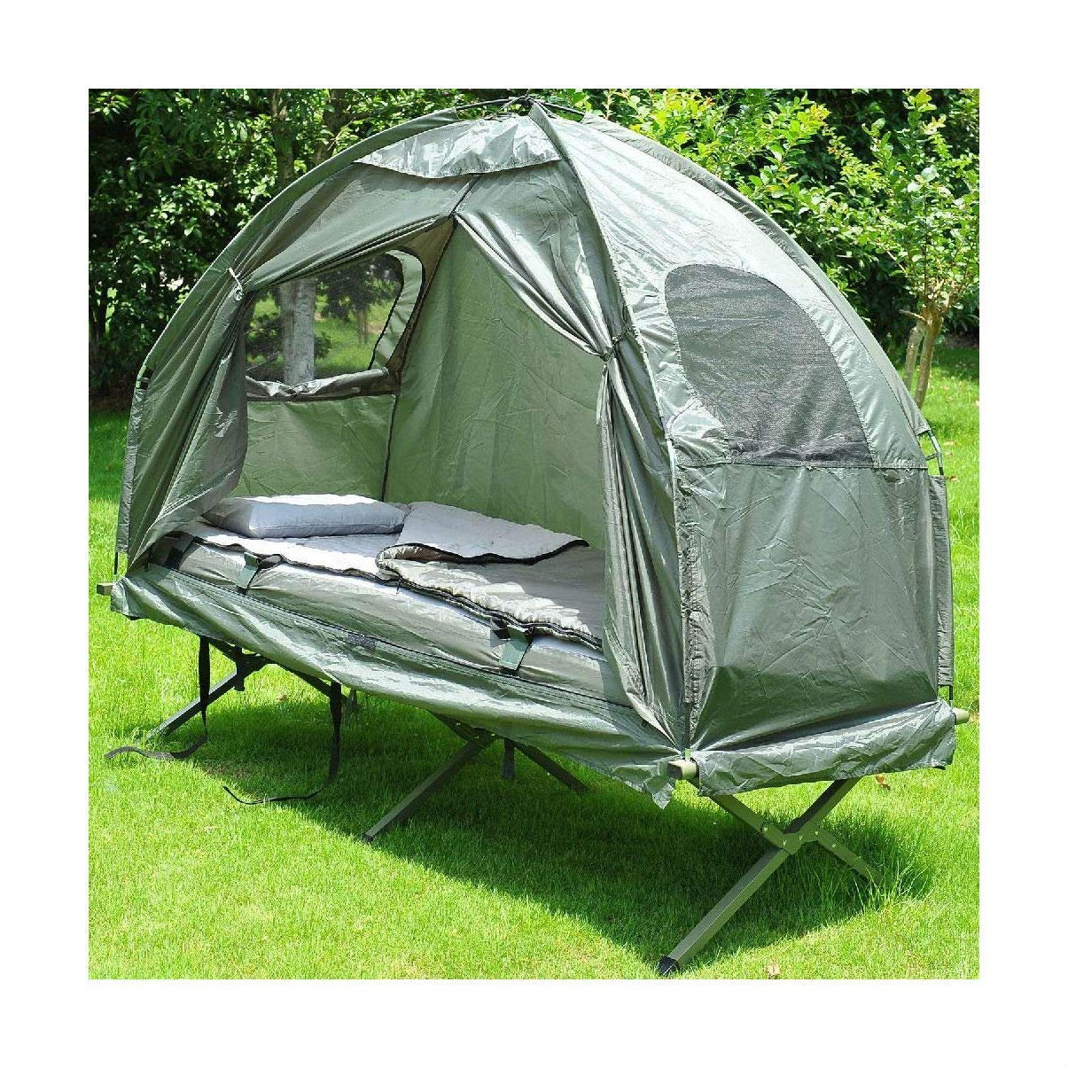 Outdoor 1-Person Folding Tent Elevated Camping Cot with Air Mattress Sleeping Bag by Turner's Merchant House