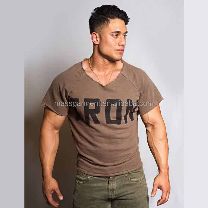 High quality fashion men loose fit casual wear t shirt men knit apparel