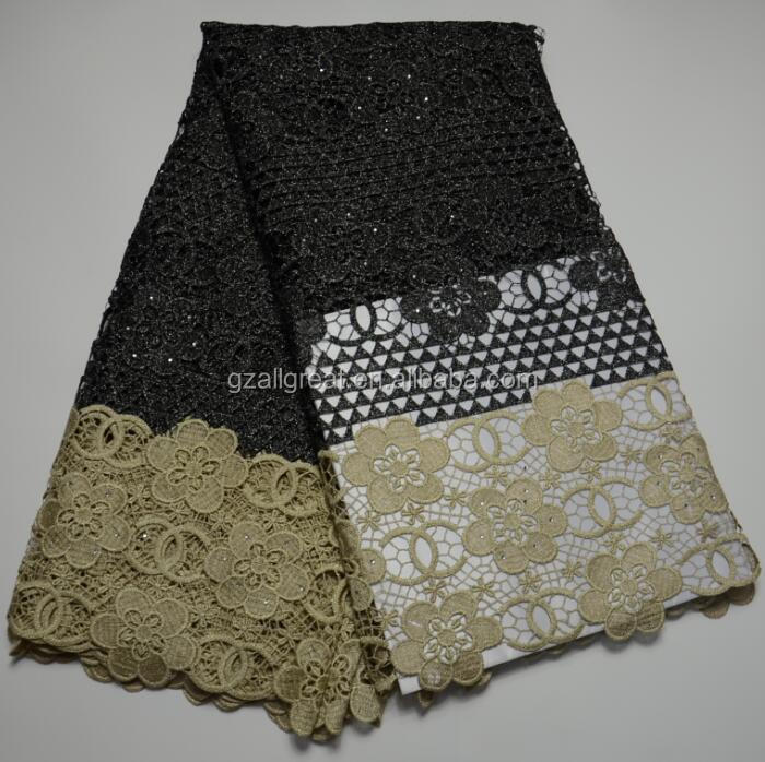 AG4616#1 Latest Cupion Lace Embroidery / Cord Lace For Nigerian Weddin