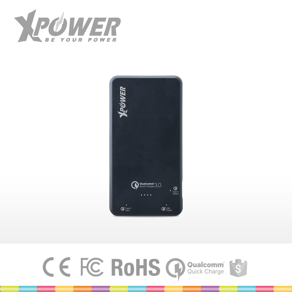 Tailor made Branded FCC Certificate Qualcomm Quick Charge 3.0 with Warranty Slim Black Mobile Phone Bank Power for smart phone