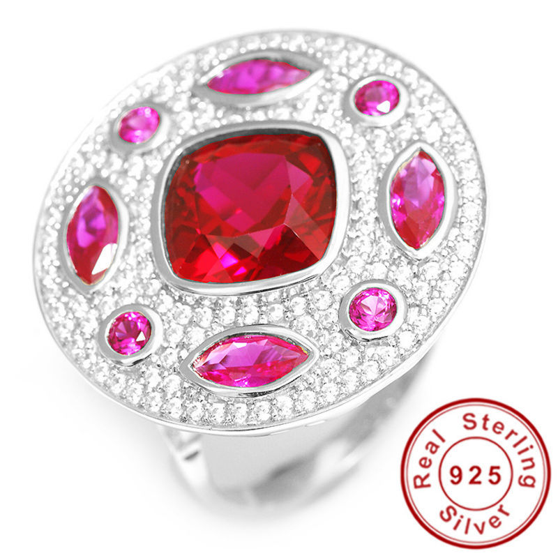 Fashion Square Cut Pigeon Blood Red Ruby Ring 925 Sterling Silver Synthetic Cubic Zirconia Wedding Charm Gift Size 5 6 7 8 9 10