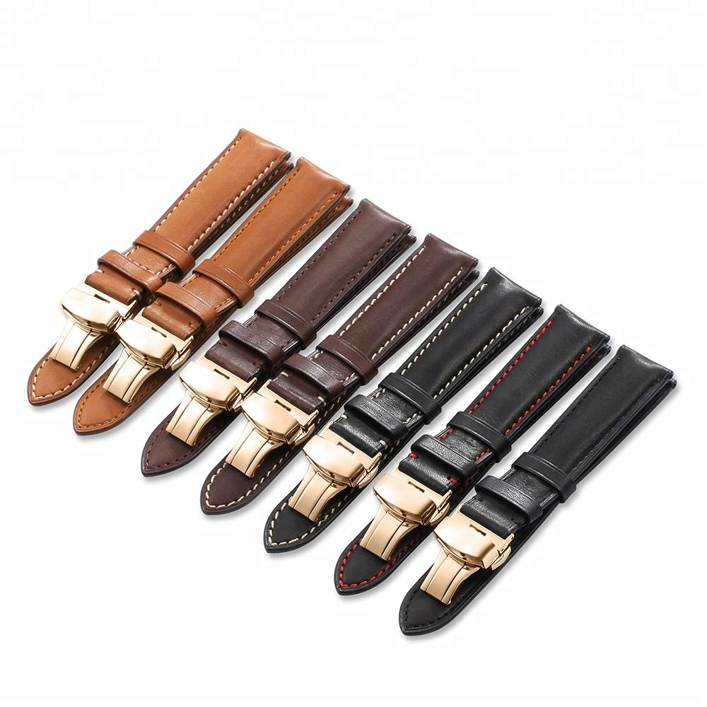18 19 20 21 22 mm Stainless Steel Ross Gold Deployment Clasp Leather Watch Band Strap фото