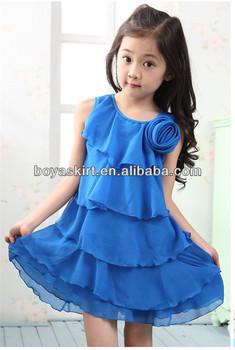 5dfe8e5f2 Korean girls fashion dress 2014 summer new children princess layered skirts  blue chiffon dress frilly skirts