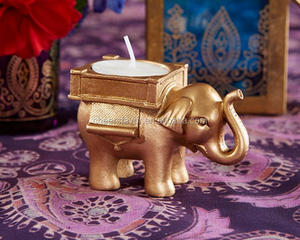 "wedding decoration-- Golden ""Lucky Elephant"" Tea Light Candle Holder"