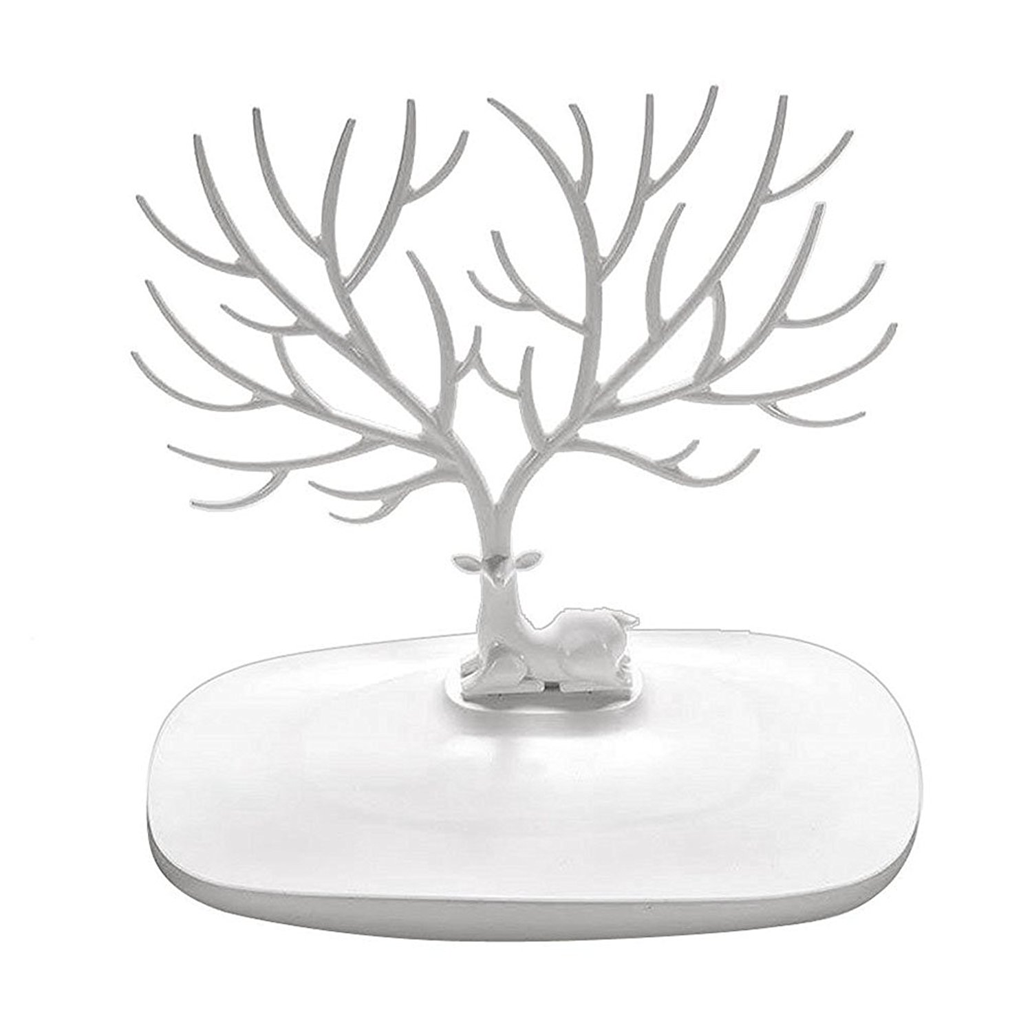 ROSENICE Hanging Jewelry Organizer Stand Tree Earring Necklace Holder Tray (White Deer Antler)