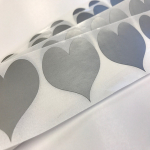 "1.5"" SILVER Heart Scratch off Stickers Labels to DIY your own Wedding Save The Dates,Valentines,Love Notes Die Cut Curvy Heart"