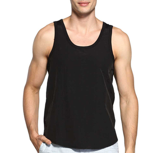 Black plain custom mens gym singlet
