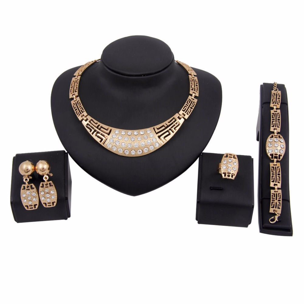 New Fashion Women African Jewelry Sets Gold Plated Alloy Wedding Necklace Sets
