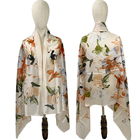 Wholesale digital printed silk scarves, multi - color multi - yard, floral patterns and silk scarves white embryo