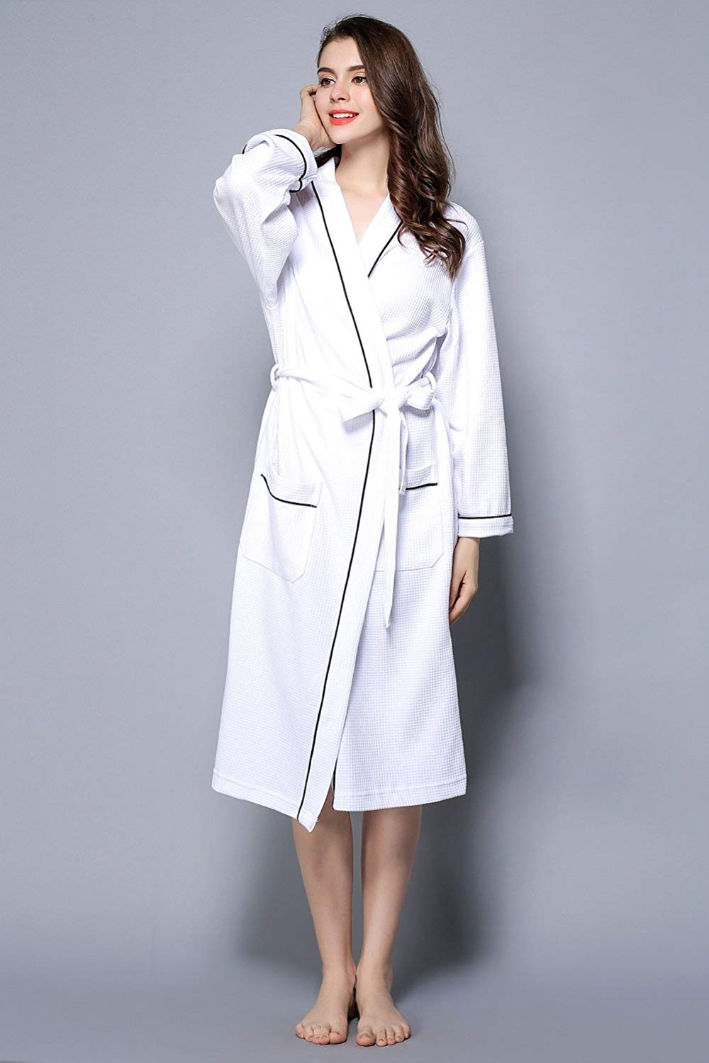 43576694a4 Get Quotations · ALJL Lovers bathrobes soft cotton bathrobe hot spring  gowns knitted cotton comfortable breathable white bathrobes