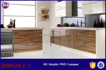 High Glossy Wood Grain UV Acrylic Mdf Kitchen Cabinet Door Plastic Panels