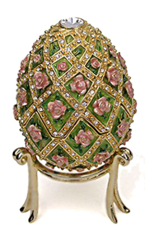 "Faberge Egg Rose Trellis Jeweled Authentic Museum Reproduction Music Box Plays Swan Lake, Large 4.5"""