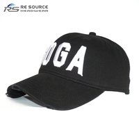wholesale six panels custom 3D black embroidery white dad hats