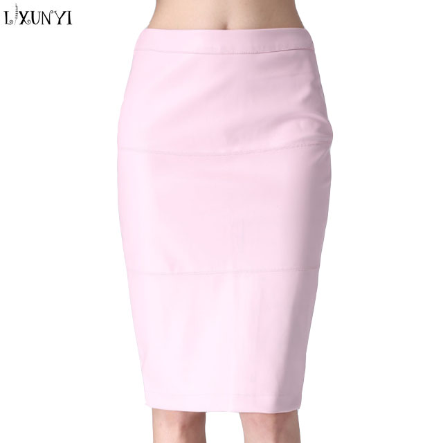 Black Pink Tight Leather Skirts Women mature Pencil Pu Leather Skirts Mid Long