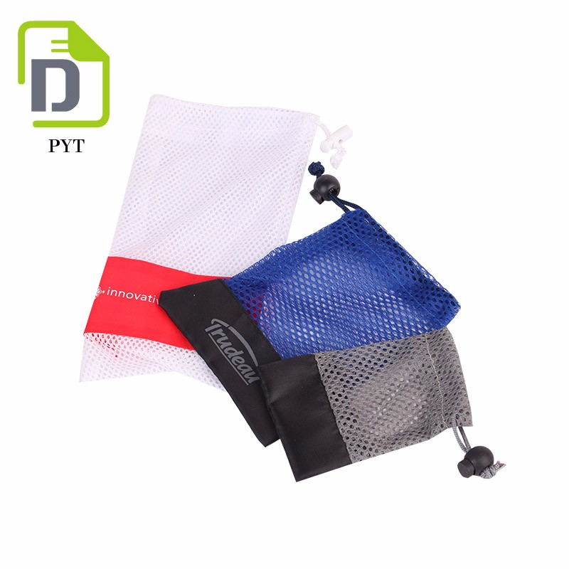Customized mini small blue nylon mesh drawstring pouch for gift packing
