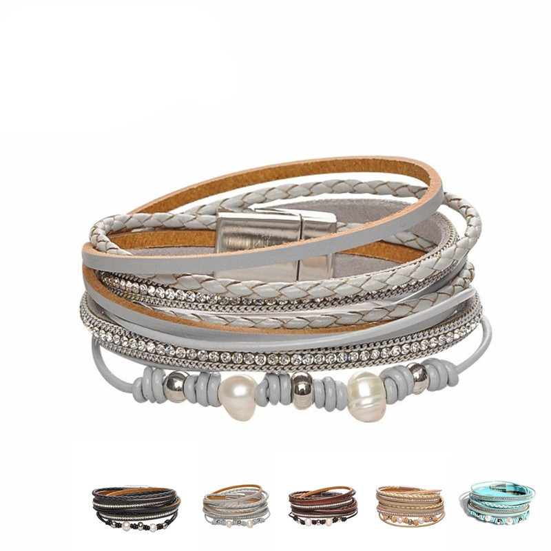 Multilayer Feather Women Wrap Magnetic Charm Boho Velvet Leather Tassel Bracelet