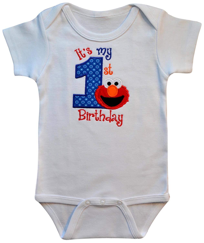 a75dd3793 Get Quotations · Funny Girl Designs Embroidered Elmo My First Birthday Year 1  Onesie Bodysuit Creeper Handmade Keepsake