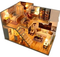 Handmade double floor model furniture kits miniature LED lights wooden dollhouse diy TYD2313