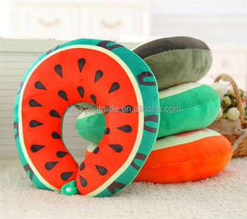 Soft Fruit U Shaped Travel Pillow Nanoparticles Car Neck Pillow Watermelon Kiwi Orange shapes