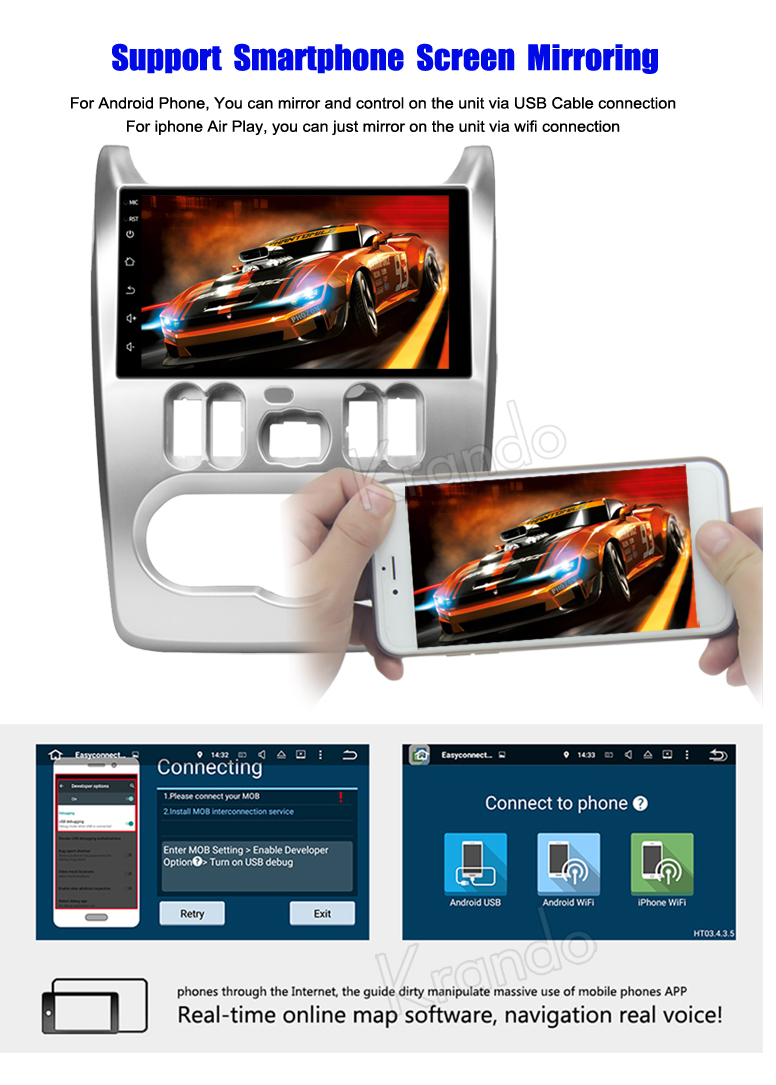 Krando Android 7.1 9''full touch screen car player for Renault Dacia Sandero 2008-2012 gps multimedia system KD-RD909