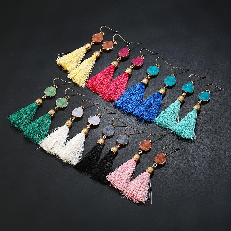 NL031 JN HOT sale quartz druzy earrings tassle wholesale tassel silk thread earrings with boho style