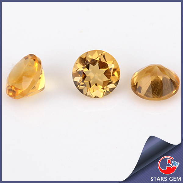 round diamond cut natural citrine high quality clear citrine stone prices