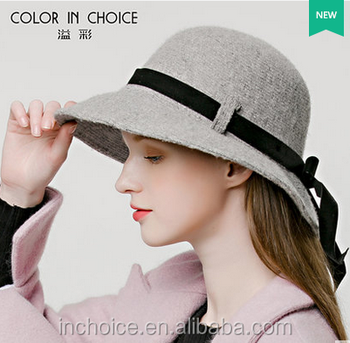 Women Lady Girl Church Bowler Hats Felt Cloche Winter Hat with black band 1eed3fed046