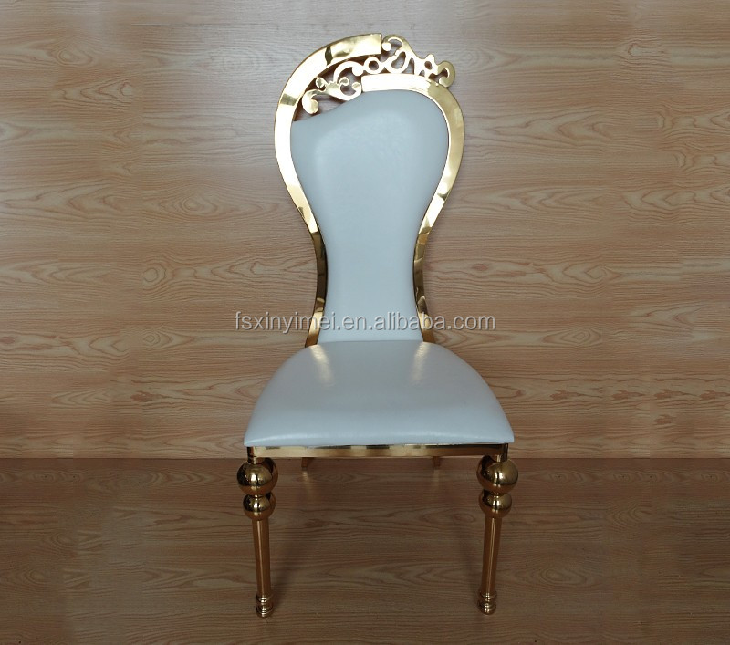 Elegant Stainless steel Rose Gold Color Frame Wedding Furniture King Queen Chairs