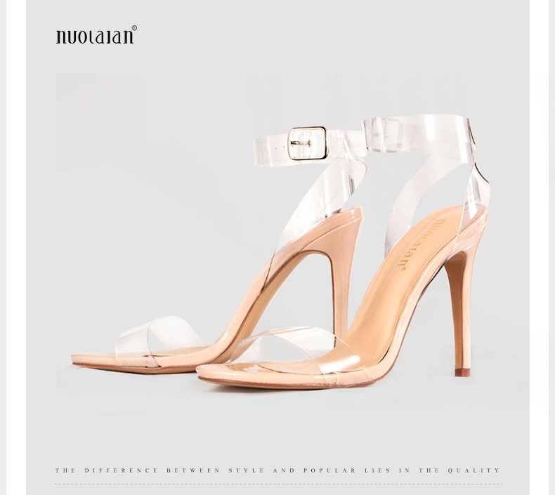 724aa7c3a67 US $16.5 75% OFF|2018 Women Sandals Shoes Ankle Strap High Heels PVC Clear  Crystal Celebrity Wearing Buckle Strap sandal High Heel Shoes Woman-in High  ...